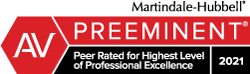 Martindale-Hubbell, Preeminent - Peer Rated for Highest Level of Professional Excellence 2021