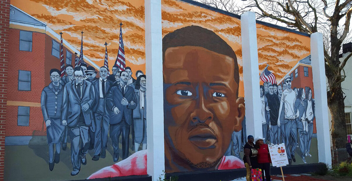 mural of Freddie Grey memorial