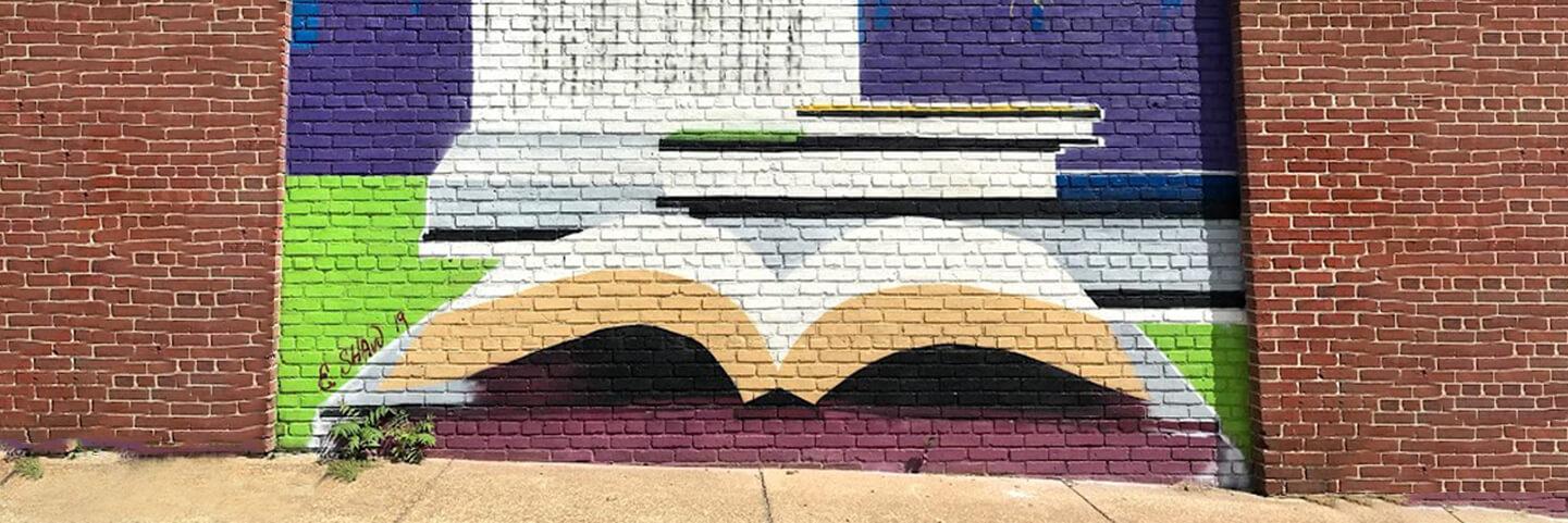 mural of an open book