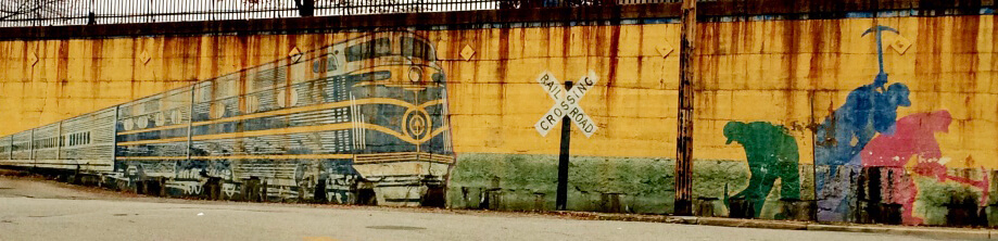 mural showing train and workers